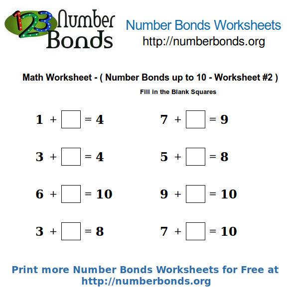 Number Bonds Math Worksheet up to 10 Worksheet 2 – Fill in the Blanks Maths Worksheets