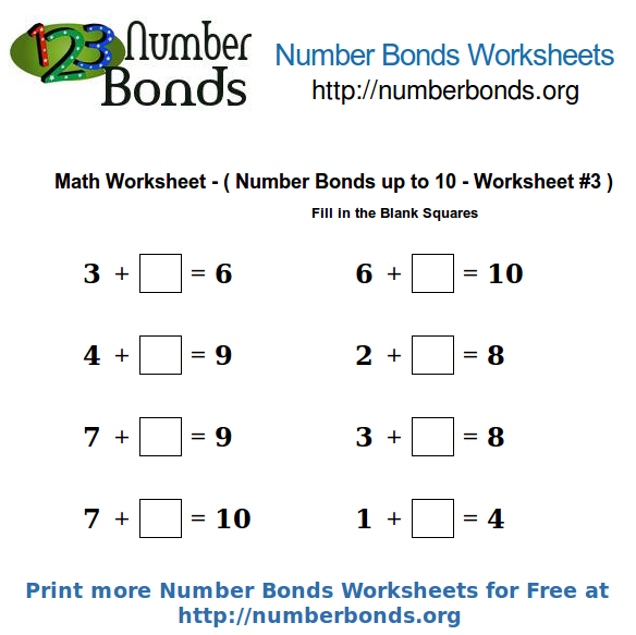 Number Bonds Math Worksheet Up To 10 Worksheet #3 Number Bonds Org