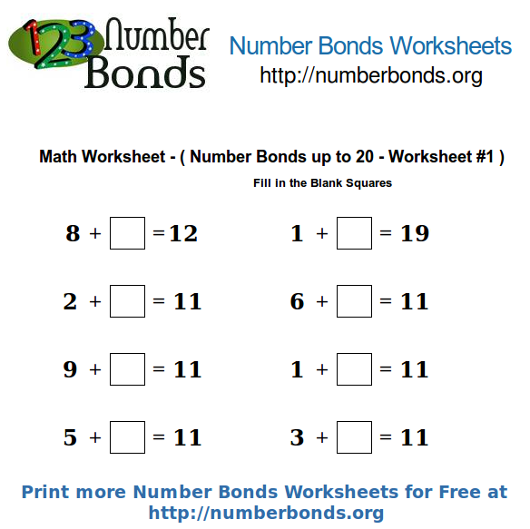 Number Bonds Math Worksheet up to 20 Worksheet #1 | Number Bonds Org