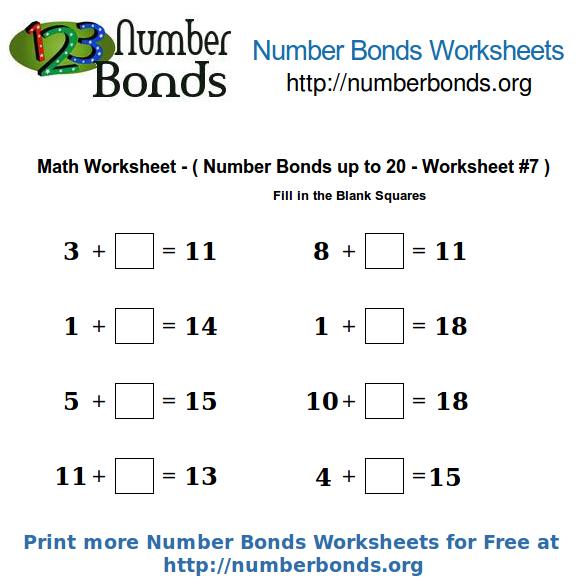 Number bonds math worksheet up to 20 worksheet 7 number bonds org print this math worksheet ibookread PDF