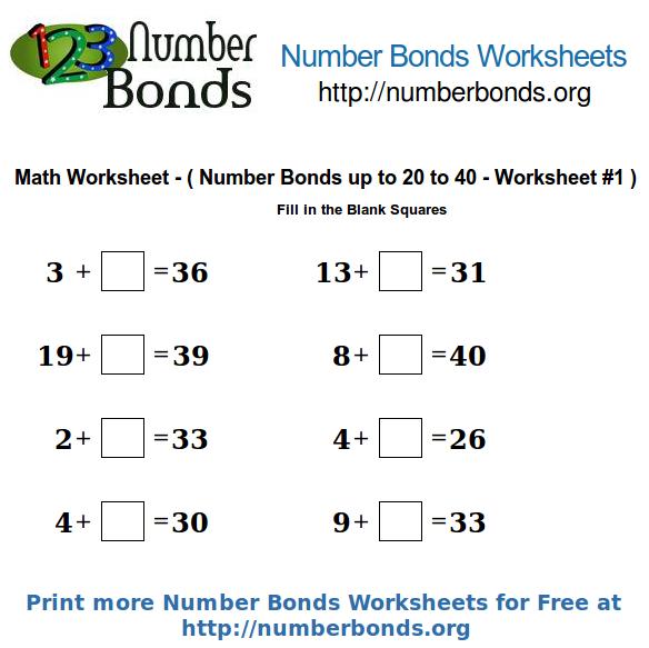 Number Bonds to 40 Worksheet | Printable First Grade Math Worksheets