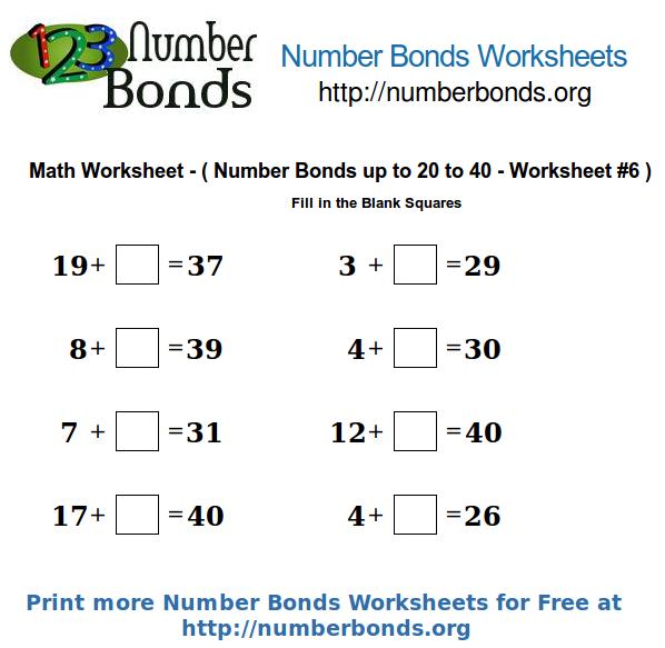 Number Bonds Math Worksheet from 20 to 40 Worksheet 6 – Number Bond Worksheets