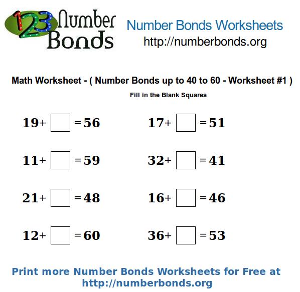 Number Bonds Worksheets on blank number bond worksheets