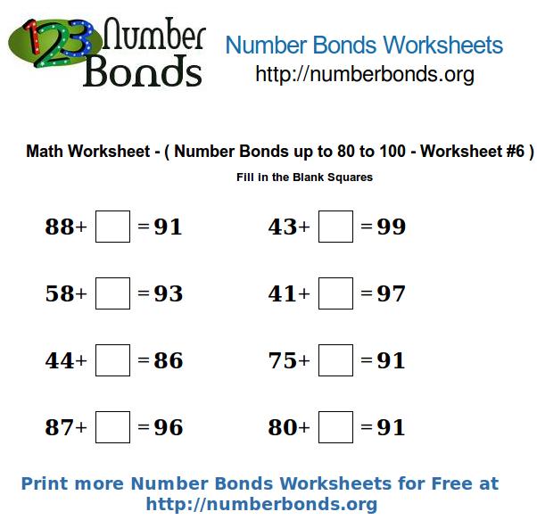 number bonds math worksheet from 80 to 100 worksheet 6 number bonds org. Black Bedroom Furniture Sets. Home Design Ideas