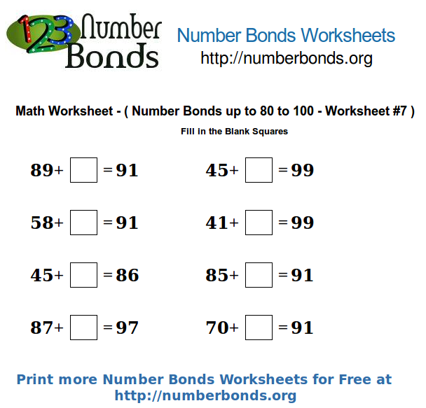 Number Bonds Math Worksheet From 80 To 100 Worksheet 7 Number