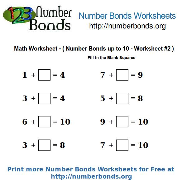 Number Bonds Math Worksheet up to 10 Worksheet #2   Number ...